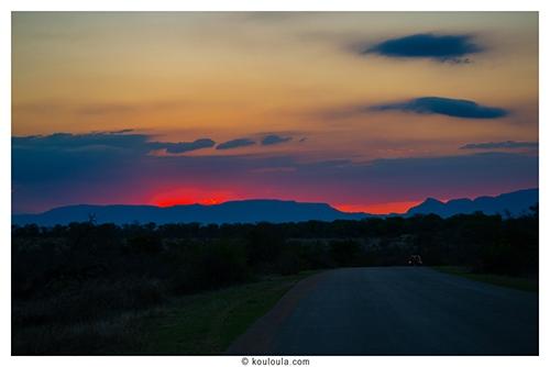 Super coucher de soleil au parck kruger vers 18h
