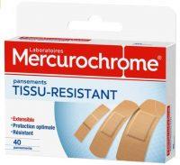 Mercurochrome Pansements tissu, protection optimale, hypoallerg{nique confortable, r{sistant ultra-extensible. - La boite de 40 pansements tissu pour voyager en Afrique